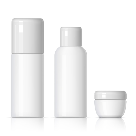 shaver: Set of cosmetic products on a white background. Cosmetic package collection for cream, soups, foams, shampoo, glue. Object, shadow, and reflection on separate layers. vector illustration.
