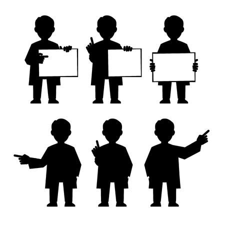 anything: Doctor, scientist, teacher. Set icons of different poses and gestures paying attention or point to anything. Vector illustration of a man in a white coat.