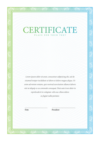 sertificate: Certificate. Vertical Template diplomas currency. Award background Gift voucher. Vector