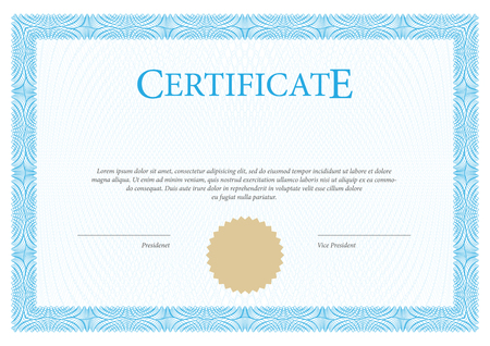 formal: Certificate. Vector Template diplomas currency. Award background Gift voucher. Illustration