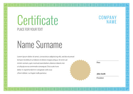 stock certificate: Certificate. Template diplomas currency. Award background Gift voucher. Vector Illustration