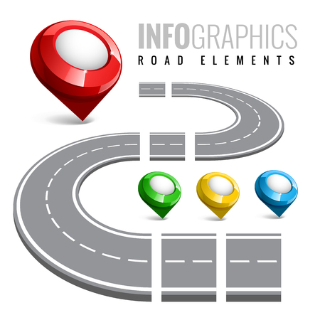 roadtrip: Road map with map pointer. Constructor a set of elements for business infographic. Vector illustration.