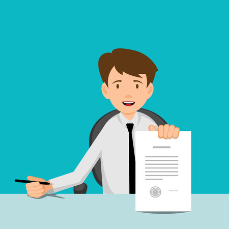 character cartoon: Businessman, manager, consultant at work. Offer to sign a contract. Flat Design Vector illustration.