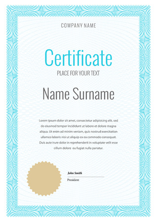 sertificate: Certificate. Template diploma currency. Award background Gift voucher. Vector