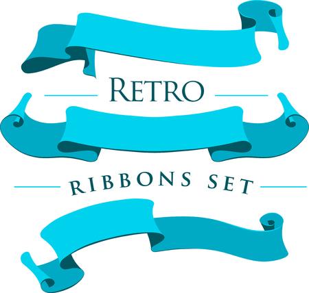 Retro ribbons set on a white background. Vector illustration.