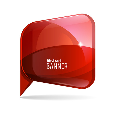 blue button: Shiny gloss red 3d banner. Vector illustration.