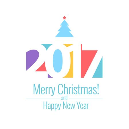 new years resolution: Vector text Design 2017. Happy new year template greeting card. Illustration