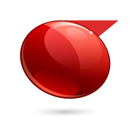 dialogo: brillo de color rojo brillante 3d bandera. Ilustración del vector. Vectores