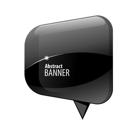 dialogo: lustre brillante Negro 3d bandera. Ilustración del vector. Vectores