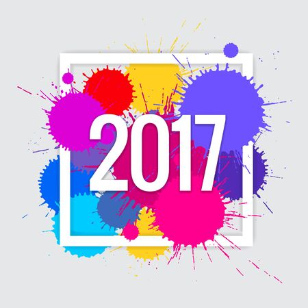 newyear card: Vector text Design 2017. Happy new year template greeting card. Illustration