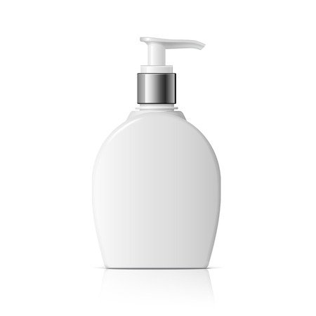 shaver: Realistic Cosmetic bottle. Oval shaped dispenser for cream, soap, and other cosmetics. Template For Mockup Your Design. vector illustration.