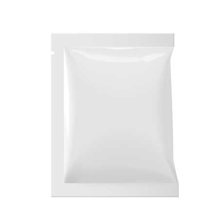 white sugar: Realistic White Blank template Packaging Foil wet wipes Pouch Medicine. Food Packing Coffee, Salt, Sugar, Pepper, Spices, Sweets. Template For Mock up Your Design. vector illustration.
