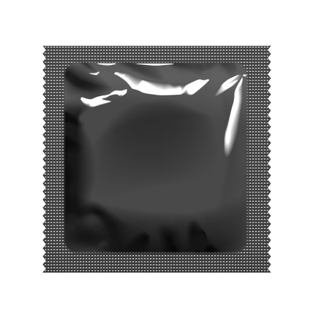 condom: Realistic black Pack of foil for condom. Template for packaging wipes. Vector illustration.