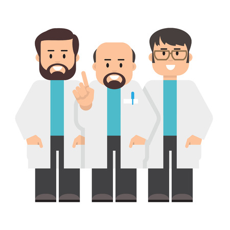 smock: Doctors, scientists. Vector illustration of a people in a white coats. Flat style