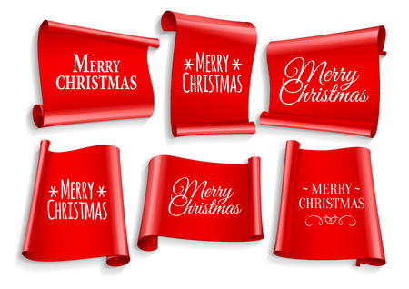 ribbon banner: Realistic Red paper banners set. Merry Christmas. Vector illustration