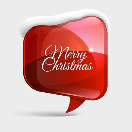 text box: realistic Shiny gloss red banner, wit snow. Merry Christmas. Vector illustration.