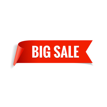 red banner: Sale banner. Realistic Red Glossy paper ribbon. Vector illustration