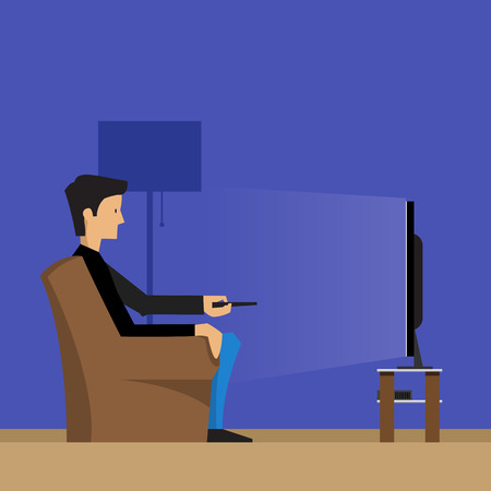 watching television: Man watching television on armchair or sofa. Vector illustration in a Flat style