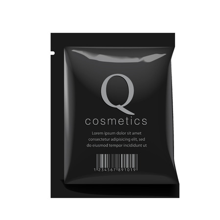 pouch: Realistic Black color Blank template Packaging Foil wet wipes Pouch Medicine or for cosmetics. vector illustration. Illustration