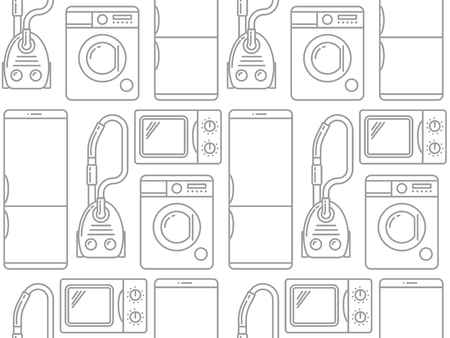 electronic: Seamless pattern of household electronics. Vector illustration.