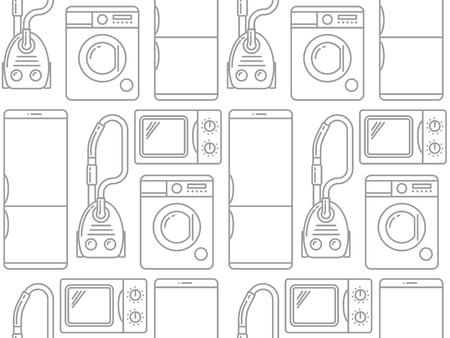 aspirator: Seamless pattern of household electronics. Vector illustration.