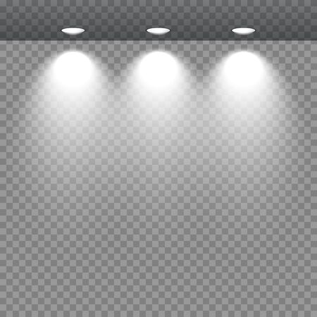 gallery: Spotlights showcas. lighting stand, trade equipment on a transparent background vector illustration