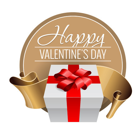 Emblem. Congratulations to the St. Valentines Day. White box with a red ribbon. Vector illustration