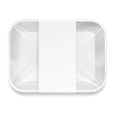food tray: White Styrofoam Food Tray pack with film and label for branding. Template For Mock up Your Design. vector illustration.