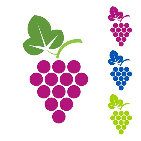 Grape sign. Logo wine production of wines, sommelier, viticulture, juice on white background. Vector sign template.