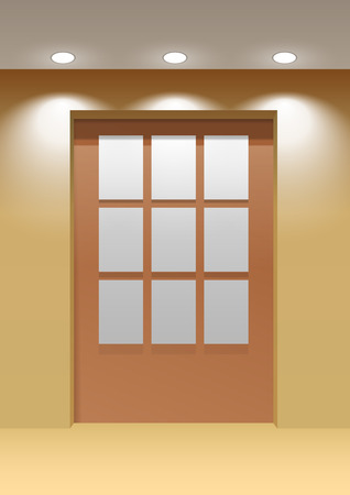 page layout: Showroom Panel. Vertical posters hanging on the wall in the interior. For Mock up Your Design. vector illustration.