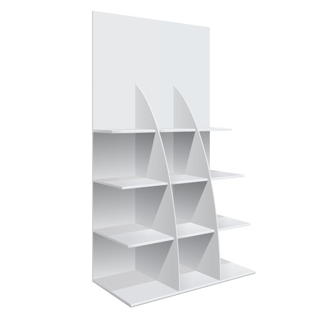 panels: Promotion shelf. Retail Trade Stand Isolated on the white background. Slender white shelves. Mock Up Template. Vector illustration.