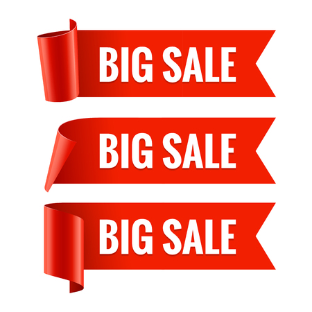 ribbon banner: Sale banner. Realistic Red Glossy paper ribbon