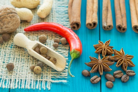 stars: red chili pepper, coffee beans, cinnamon sticks and star anise on wooden table.
