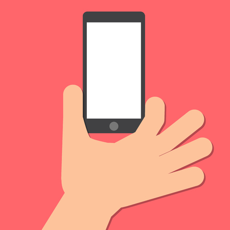 mobile: hand holds a smart phone in the vertical position.