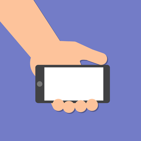 mobile: hand holds a smart phone in horizontal position Illustration