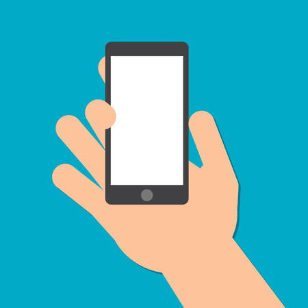 telephone: hand holds a smart phone in the vertical position.