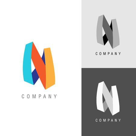 logo: Logo design element. Letter symbol N.