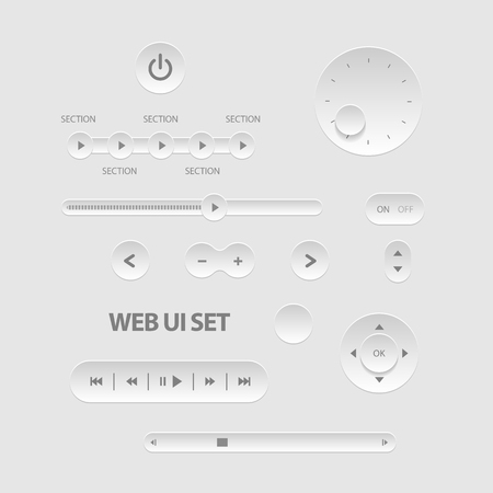 controlling: Light Web UI Elements. Buttons, Switches, bars, power buttons sliders Vector illustration