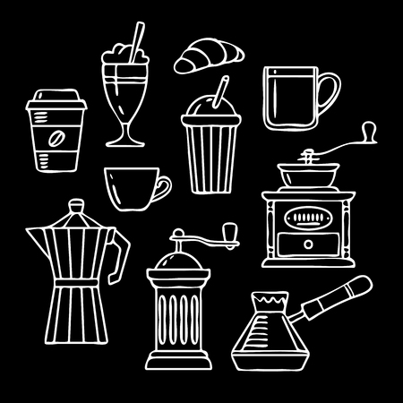 Hand Drawn Collection. Vector Sketch Illustration Set With Cups, Coffee, Croissant, Coffee Mill,, Kettle, Cups, Latte. Vector illustration.
