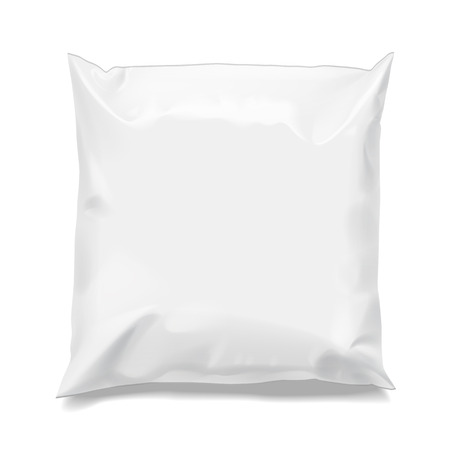 Food snack pillow Realistic package. Polyethylene packing of goods. Mock up for brand template. vector illustration. 矢量图像