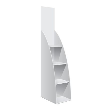 白い背景の上スーパー階ショーケースの POS ポイ ディスプレイ ラック棚のための広告。細長い白い棚。テンプレートをモックアップします。ベクト