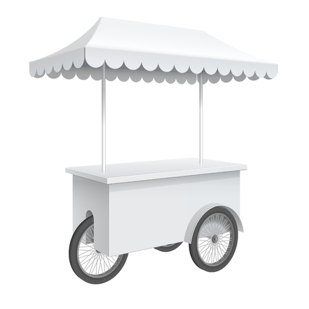 display: Advertising POS POI Promotion counter on wheels and a triangular roof covered, Retail Trade Stand Isolated on the white background. Illustration
