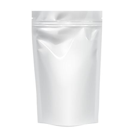 Foil의 유연한 가방. 음식 스낵 베개 현실적인 패키지입니다. 제품 포장용 폴리에틸렌. 브랜드 템플릿을 모의합니다. 벡터 일러스트 레이 션.