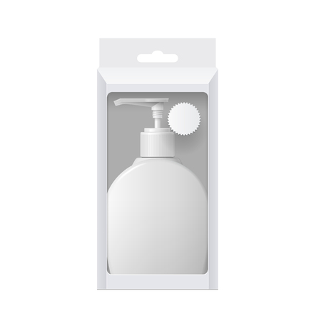 grooming: Realistic Cosmetic bottle In a cardboard box with a transparent window. Oval shaped dispenser for cream, soap, and other cosmetics. Template For Mockup Your Design. vector illustration.