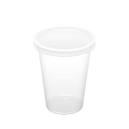 ice: Realistic Transparent Disposable Plastic Cup With Lid. For various drinks, lemonade, fresh, coffee or ice cream. Mock up for brand template. vector illustration.