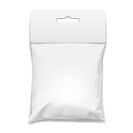 pouch: White realistic Polyethylene bag with Hang Slot. Mock up for brand template. vector illustration. Illustration