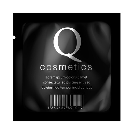pouch: Realistic Black color Blank template Packaging Foil for cosmetics. vector illustration.