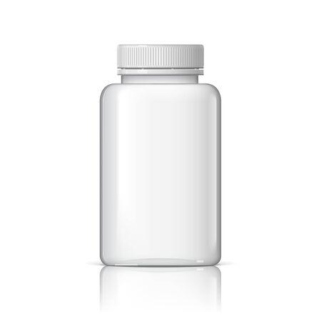 template: Cool realistic white plastic bottle. Product packing medicine. Various fluids Vector Illustration Illustration