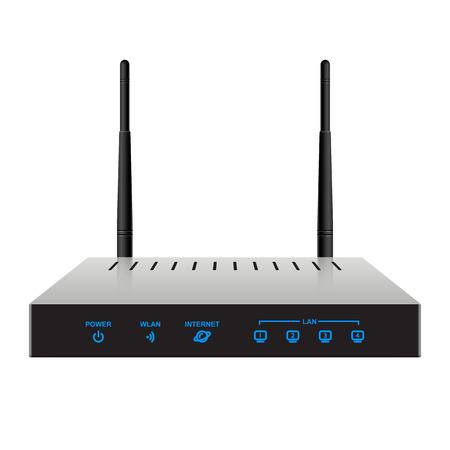 Slim realistic wireless router with the antenna