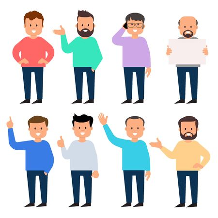 Set of a guys in different poses and gestures paying attention or point to anything. A characters in casual clothes . Vector illustration. flat style Illustration